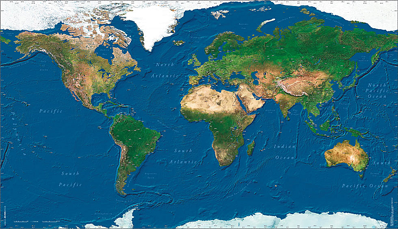 Absolutezero Pilots World Satellite Wall Map Aerosoft Shop - World satellite map with countries